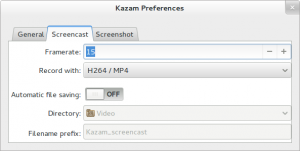 Editing Kazam preferences
